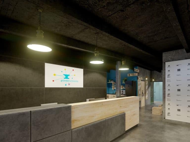 Coworking Space im Gründerquartier Remscheid - Empfangsansicht
